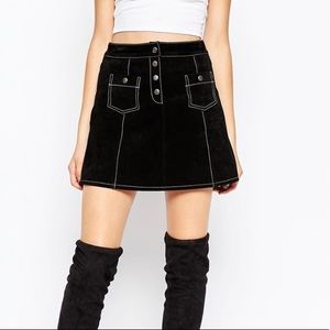 Asos suede leather black skirt